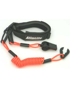 Pro Wrist Lanyard With Whistle Neon Red